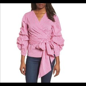 NWT Adorable Halogen pink gingham wrap top, Sz.S